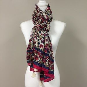 LUCKY BRAND Colorful Floral Scarf with Tassels